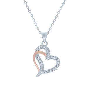 (100150) White Cubic Zirconia Heart Pendant Necklace In Sterling Silver and Rose Gold Plate