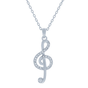(100152) White Cubic Zirconia Treble Clef Pendant Necklace In Sterling Silver