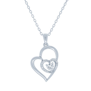 (100154) White Cubic Zirconia Heart Pendant Necklace In Sterling Silver