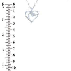 (100155) White Cubic Zirconia Heart Wing Pendant Necklace In Sterling Silver