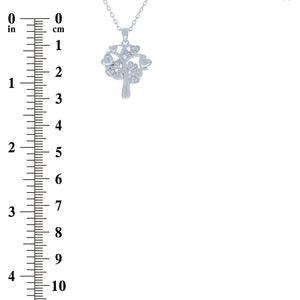 (100156) White Cubic Zirconia Tree Of Life Heart Pendant Necklace In Sterling Silver