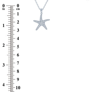 (100157) White Cubic Zirconia Sea Star Pendant Necklace In Sterling Silver