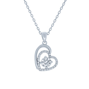 (100161) White Cubic Zirconia Heart Pendant Necklace In Sterling Silver