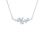 (100166) White Cubic Zirconia Flower Necklace In Sterling Silver