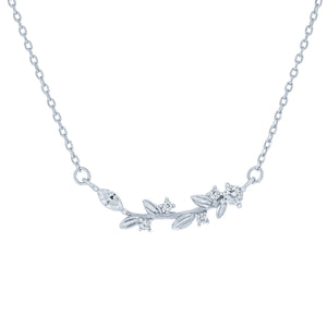 (100169) White Cubic Zirconia Leaf Necklace In Sterling Silver