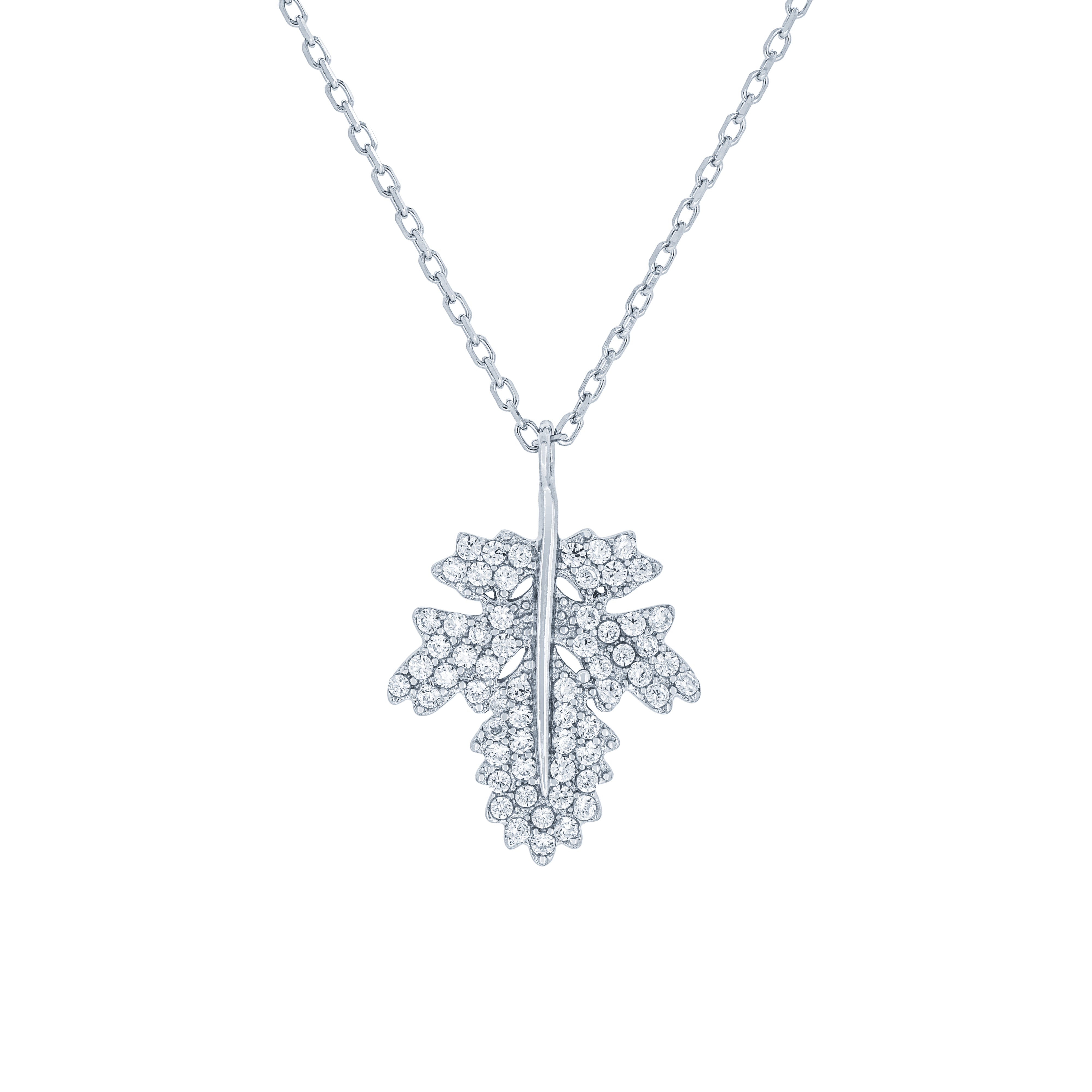 (100170) White Cubic Zirconia Maple Leaf Necklace In Sterling Silver