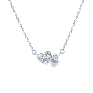 (100171) White Cubic Zirconia Hearts Necklace In Sterling Silver