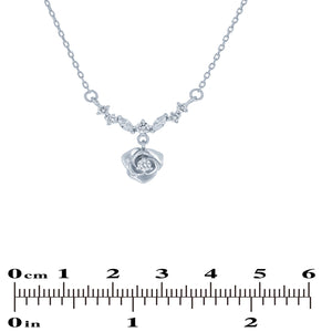 (100172) White Cubic Zirconia Flower Necklace In Sterling Silver