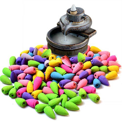 Mixed 70Pcs Natural Incense (Backflow Bullet Smoke Cones) Rose Jasmine Lavender