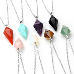 Natural Gemstone Crystal Healing Pyramid Pendant Necklace