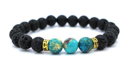 Natural Lava and Blue Stone Bead Bracelet with Gold Accents, Stretch Yoga/Meditation Bracelet