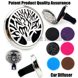 Stainless Steel Tree of Life (38mm) Magnet Car Essential Oil Diffuser including pads