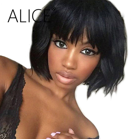 Brazilian Remy Short Human Hair Lace Front Wigs