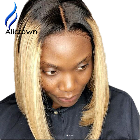 Brazilian Remy Human Hair Lace Front Wigs Short wigs With Baby Hair Bleached Knots