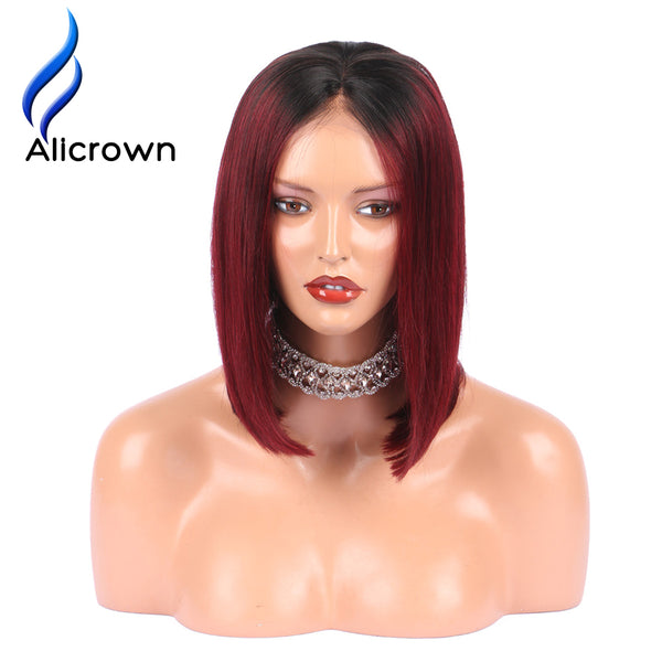 Ombre Hair Wigs Lace Front Human Hair Wigs Straight Short Brazilian Remy Hair