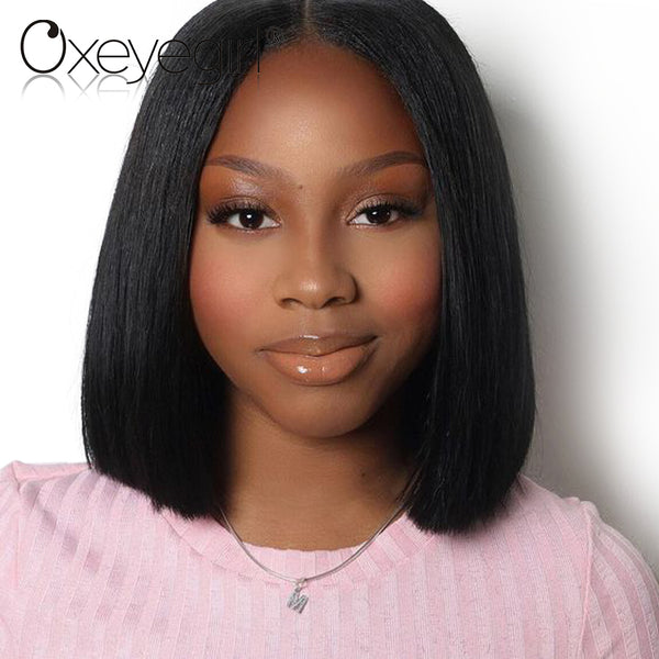 Lace Front Human Hair Wigs Malaysian Straight Hair Short Human Hair Wigs
