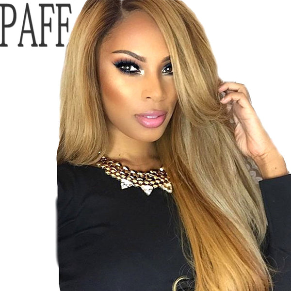 Blonde Lace Front Human Hair Wig Peruvian Virgin Hair Silky Straight #27 Color Side Part Lace Wig Baby Hair