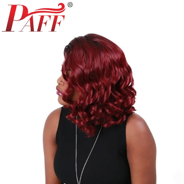 Ombre Red Short Wave Bob Hair Wig High Density Lace Front Human Hair Wig