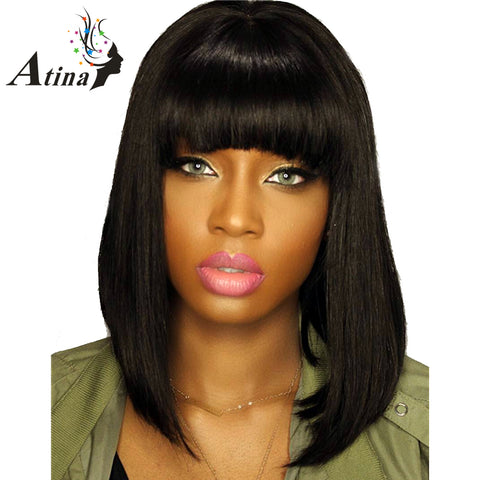 Short Human Hair Wigs With Bangs Straight Lace Front Wigs Brazilian Remy Hair Wig