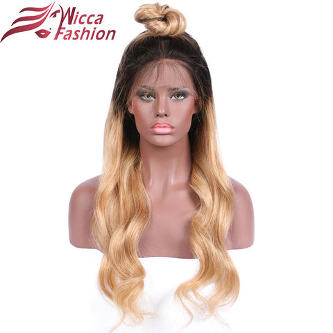 Ombre Front lace wig Non-Remy Hair Brazilian Human Hair Wigs