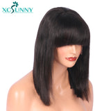 Short Bob Lace Front Wigs Human Hair With Bangs Brazilian Remy