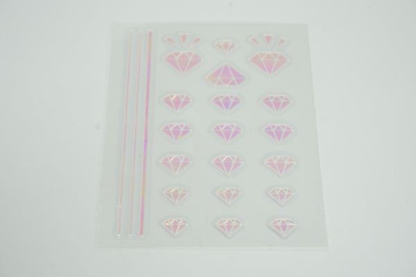 Gem Stone Korean Shatter Glass Sticker