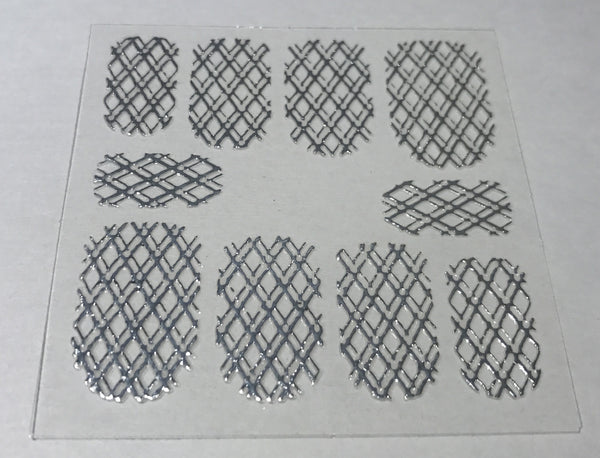Metallic Silver Double Quilted Mesh Sticker