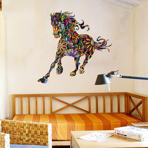 Colorful abstract flower horse wall decal