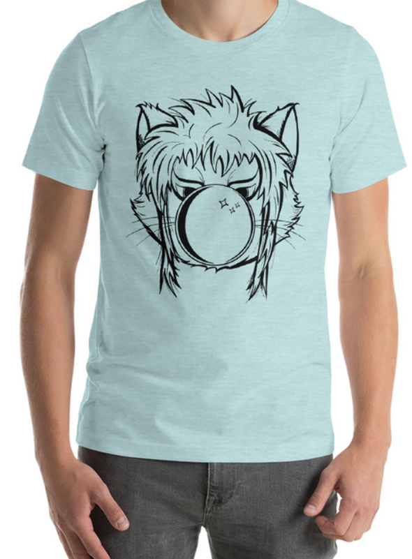Defaced Cat, Goblin King Blue Shirt