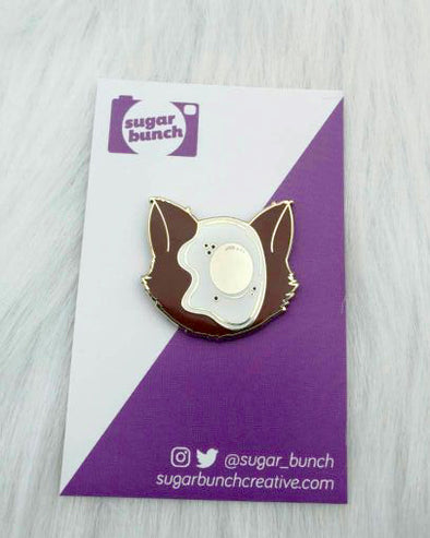 Defaced Cat, kitty with an egg on it's face and gold hard enamel lapel pin accessory.