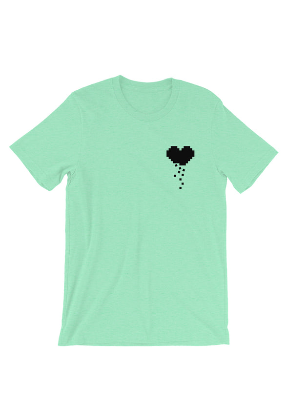 Black Pixeled Apart Heart - Mint Unisex Short Sleeve T