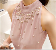 Korean Fashion Women Beaded Chiffon Turtleneck Blouse