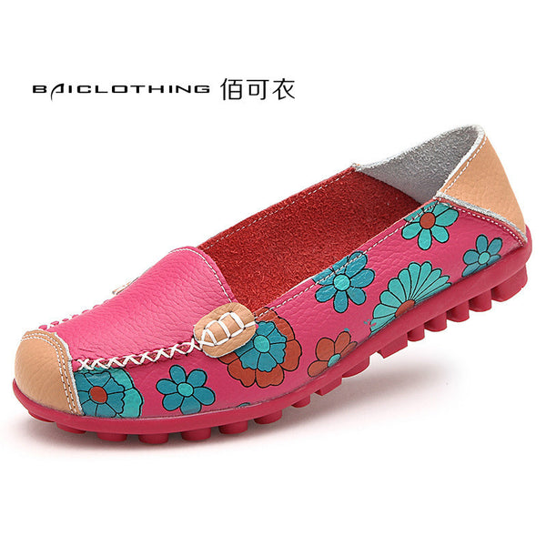 Cowhide floral Genuine leather  flat base flexible shoe for women