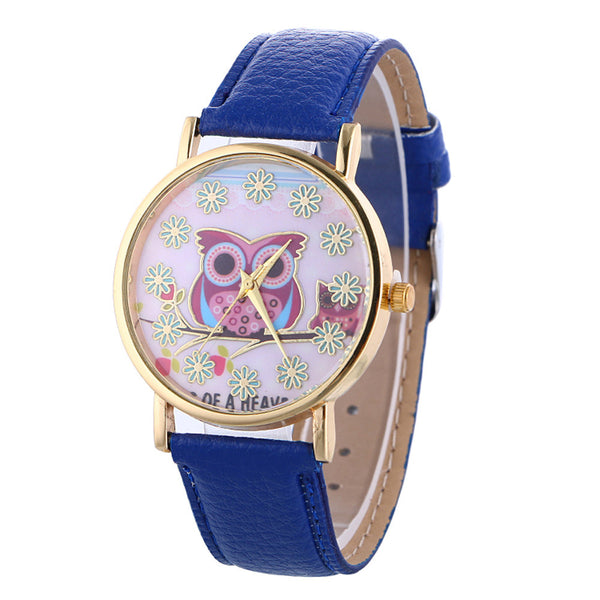 2017 New Geneva Owl Crystal Face Girls' Casual Quartz Watch