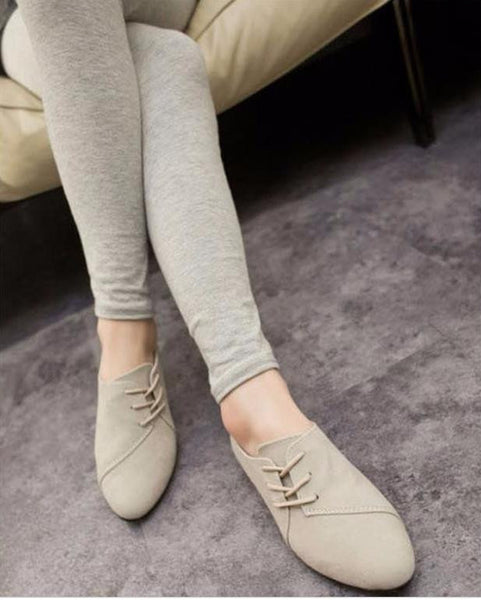 Spring Nubuck Leather Casual lace-up flat shoe for women.