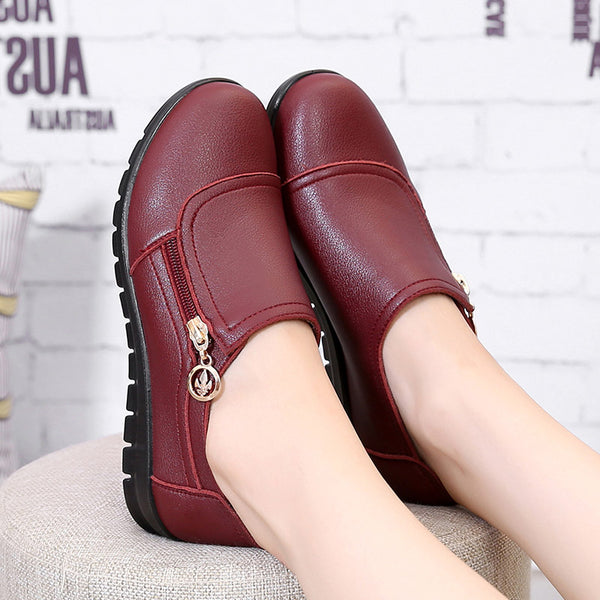 Leather Soft Sole Anti-Skid Shoes for the Elderly and Expectant Mom