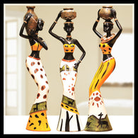 Decor Ornament Crafted Vintage African Dolls in Resin Furnishing