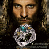 Aragorn's Ring of Barahir Vintage Antique Silver Ring with Green Crystal