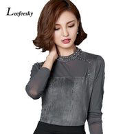 2016 Korean Fashion Flannel Slim Beaded Women's Blouse
