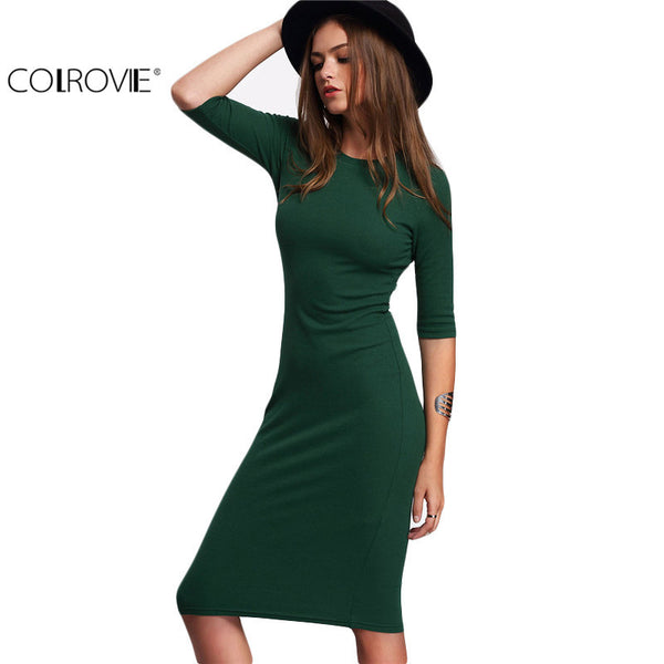 2017 Sexy Casual Crew Neck Half Sleeve Midi Dress