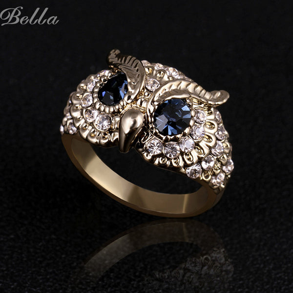 Gold plated Rhinestone Blue eye Owl design Ring for Women