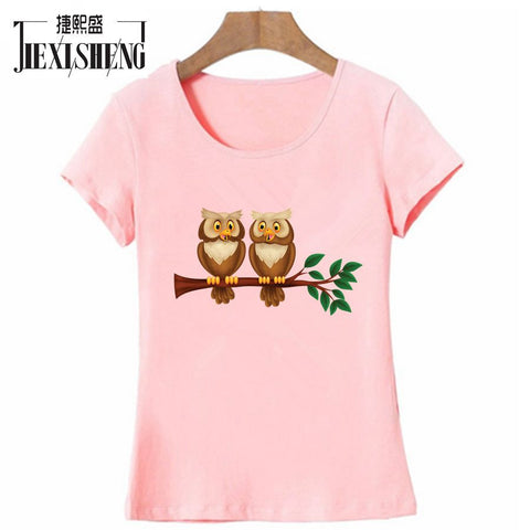 Twin Owl Design Printed Women's Round Neck T-Shirt