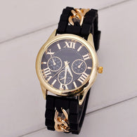 Women casual fashion silicon strap Stainless Steel Casing round face Quartz Watch