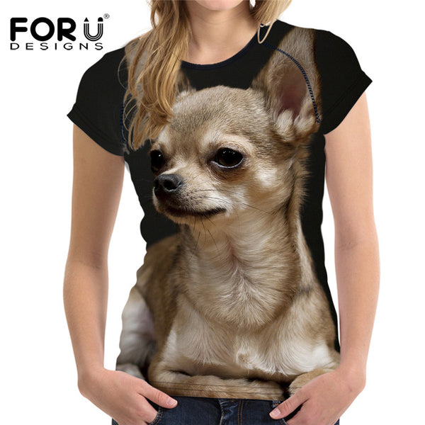Chihuahua Printed Women Casual Fitness T-Shirts