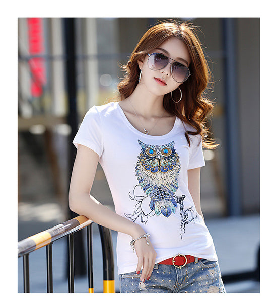 2017 Vintage Owl design beading and Sequins on Casual T-Shirt