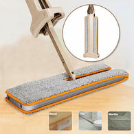 Double Sided Hand Push Sweeper and Flat Magic Mop