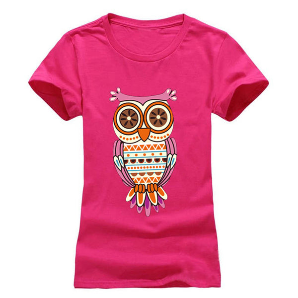 Cartoon Owl / Cat printed Women's round neck T-Shirts
