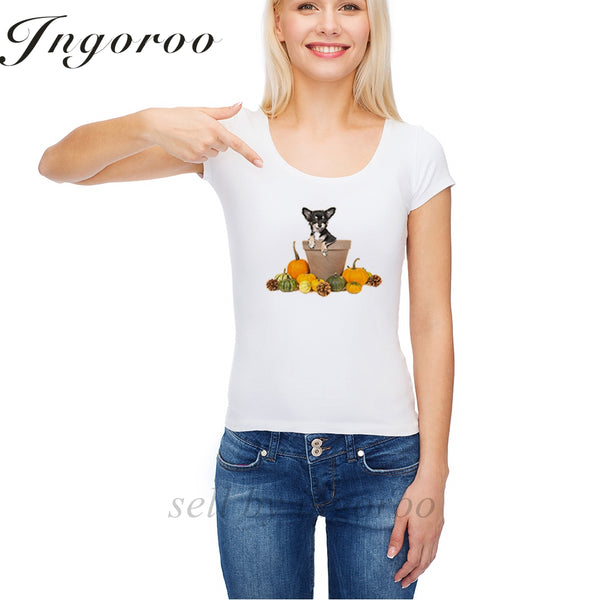Cute Chihuahua Printed Casual T-Shirts for Women