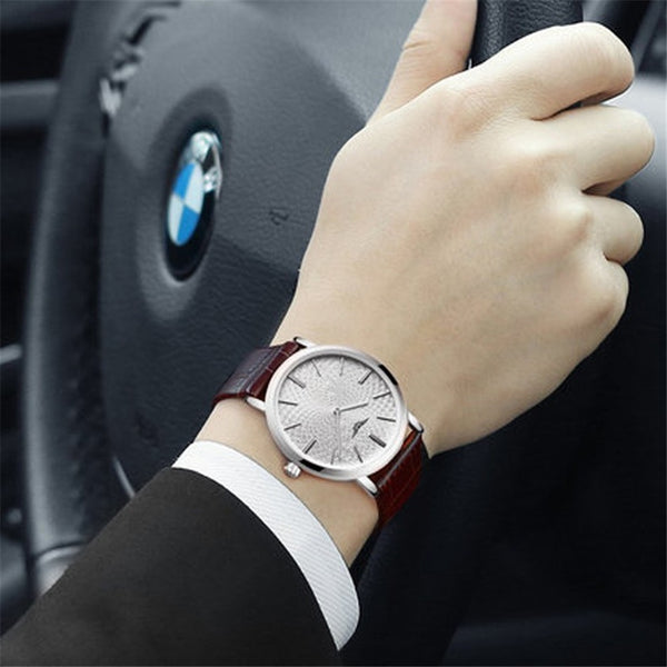 Men's Ultra Slim Leather Casual Wrist Watch