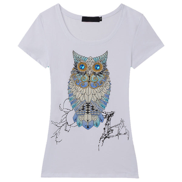 Hand beaded Art Owl Design Women's T-Shirt